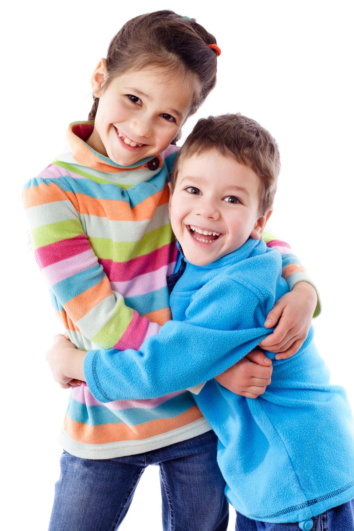 13708686 - two happy funny kids standing together and embracing, isolated on white