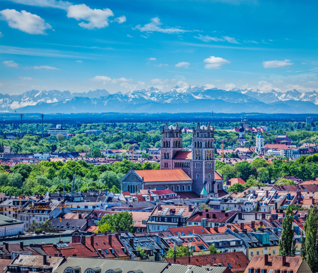 View of Munich with Alps in background, Bavaria, Germany
