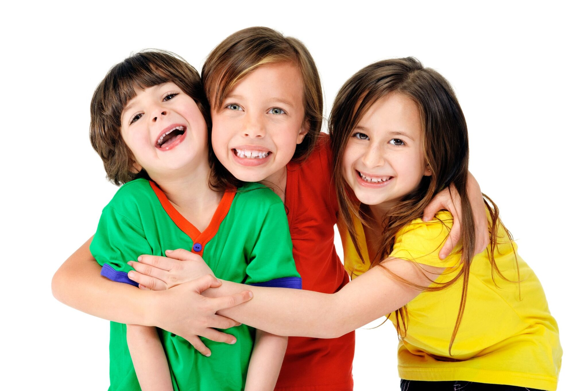 3 happy siblings hugging