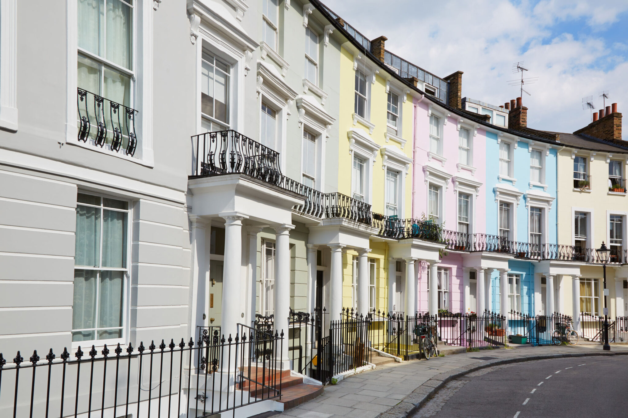 Colorful London houses in Primrose hill