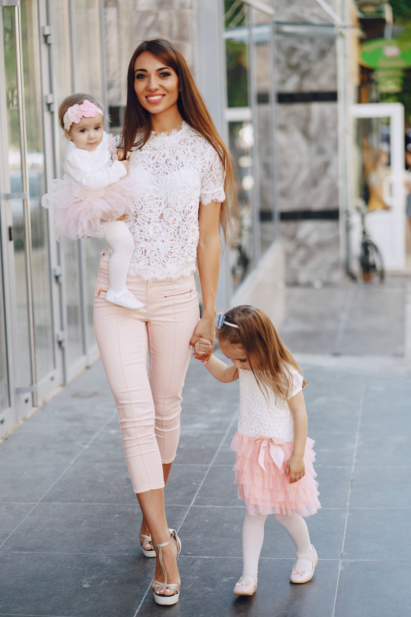 Mother, baby, little girl, pink and white, smart