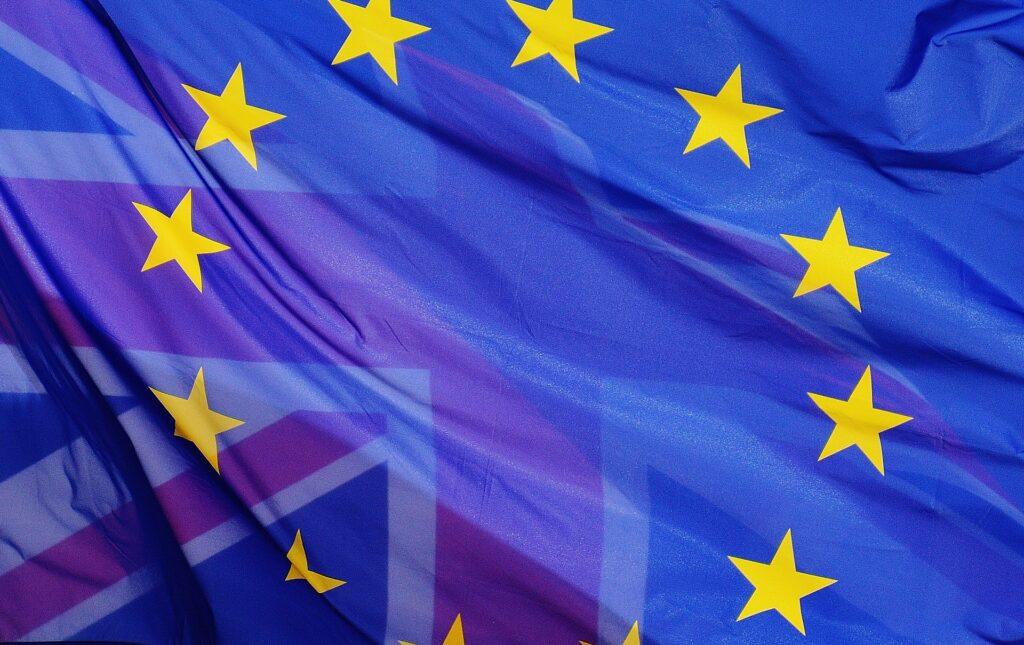 European flag overlaid on Union Jack